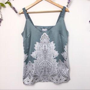 Soft Surroundings Mint Lace Print Sleeveless Top